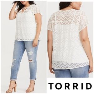 Torrid | White Lace Chevron Sheer Top
